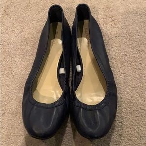 leather navy flats